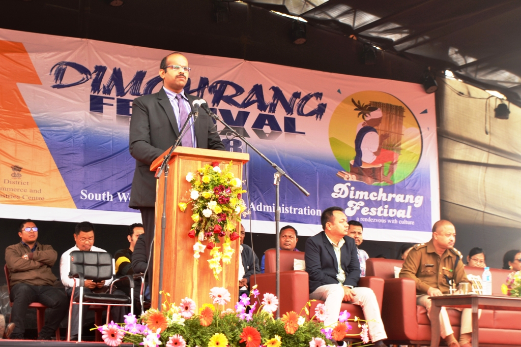 SWGH DC addresses the gathering during the inaugural function of Dimchrang Winter Festival at Ampati on Dec 19.