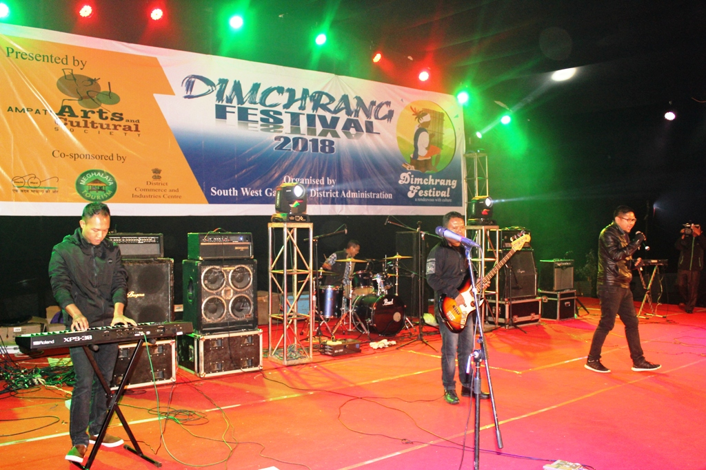 Rough Road performing during the 1st day of Dimchrang Winter Festival at Ampati on 19 Dec.